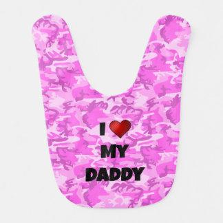 """Camuflaje rosado """"amo babero del bebé de mi papá"""""""