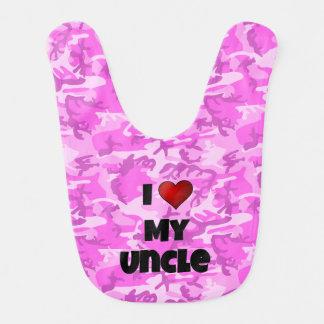 """Camuflaje rosado """"amo mi babero del tío"""" bebé"""