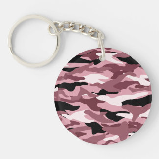 Camuflaje rosado bonito llavero redondo acrílico a doble cara