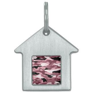 Camuflaje rosado bonito placa mascota