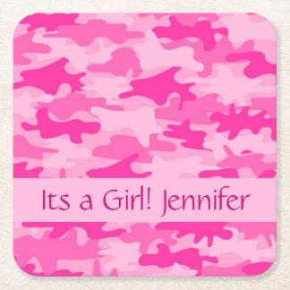 Camuflaje rosado de Camo su un nombre del chica Posavasos Personalizable Cuadrado
