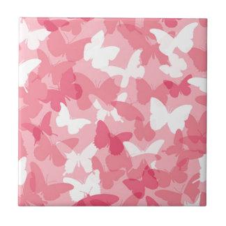 Camuflaje rosado de la mariposa azulejos cerámicos