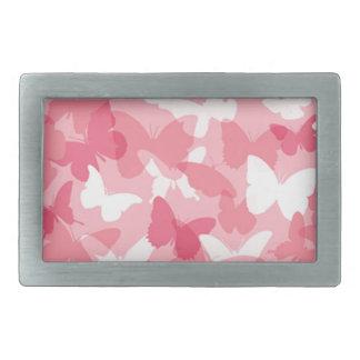 Camuflaje rosado de la mariposa hebilla cinturon rectangular