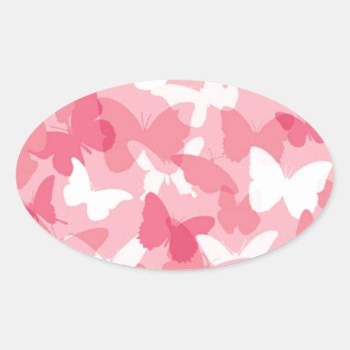 Camuflaje rosado de la mariposa pegatina ovalada