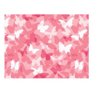 Camuflaje rosado de la mariposa tarjeta postal