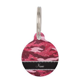 Camuflaje rosado fucsia conocido personalizado del placas de mascota