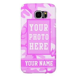 Camuflaje rosado lindo personalizado del nombre y fundas samsung galaxy s6