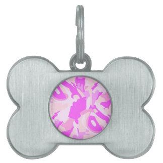 camuflaje rosado placa de mascota