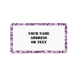 Camuflaje rosado púrpura del arbolado - con blanco etiqueta de dirección