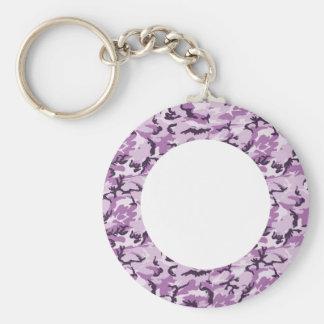 Camuflaje rosado/púrpura del arbolado - con blanco llavero redondo tipo pin