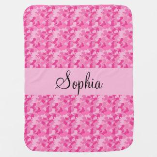 Camuflaje rosado manta de bebé