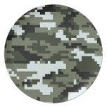 Camuflaje urbano del pixel de 8 pedazos platos para fiestas