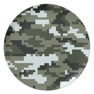 Camuflaje urbano del pixel de 8 pedazos platos de comidas