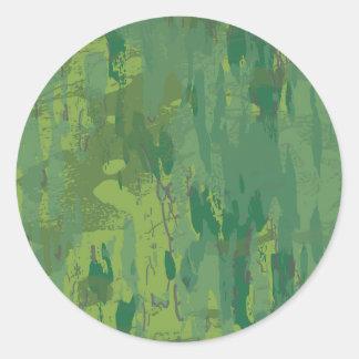 Camuflaje verde de la selva del modelo pegatina redonda