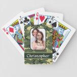 Camuflaje verde del arbolado baraja de cartas
