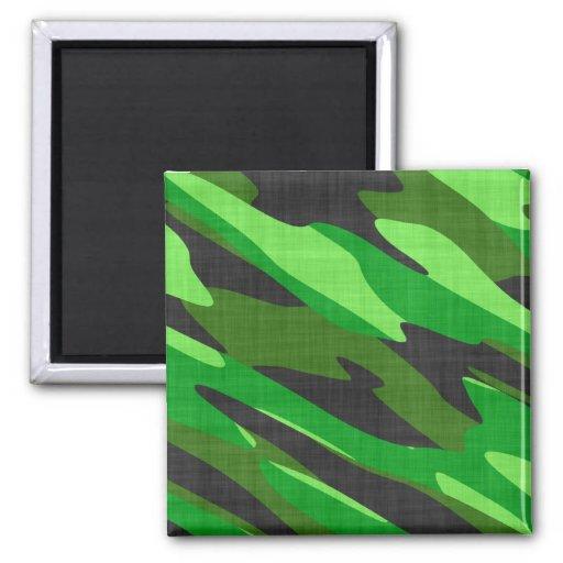 camuflaje verde del ejército de la selva imán cuadrado