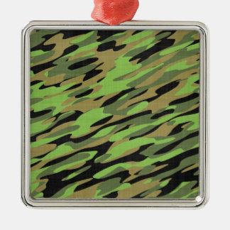 Camuflaje verde del ejército texturizado ornamento de navidad