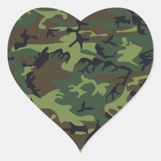 Camuflaje verde militar calcomanía corazón