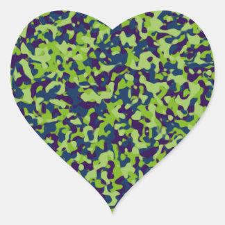 Camuflaje verde pegatinas corazon