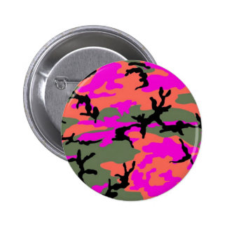 Camuflaje verde y anaranjado rosado pin redondo 5 cm