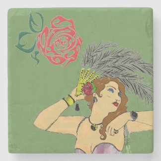 CAN CAN DANCER WITH ROSE MARBLE STONE COASTER