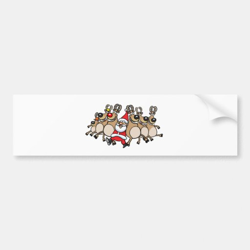 Can Can Reindeer and Santa Bumper Sticker