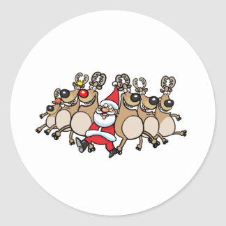 Can Can Reindeer and Santa Classic Round Sticker