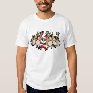 Can Can Reindeer and Santa T-Shirt