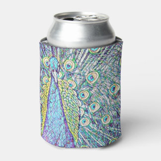 Can Cooler With Turquoise Peacock Design