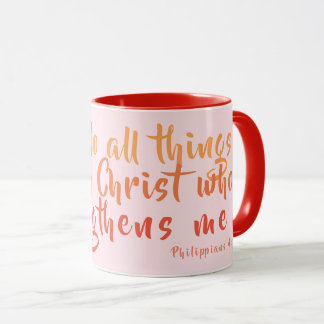 Can Do All Things Pink Scripture Mug