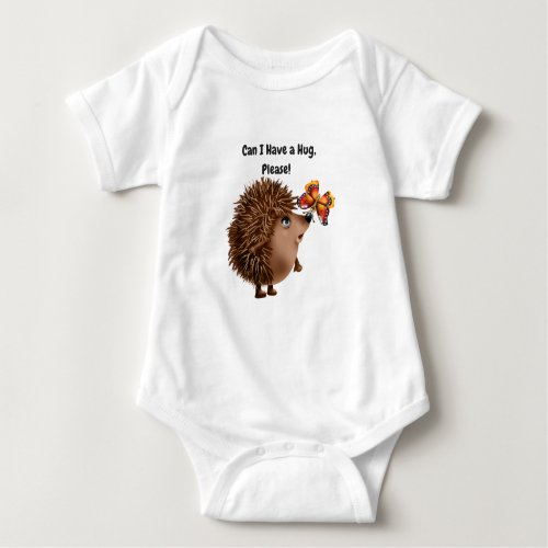 Can I Have a Hug Hedgehog Butterfly Friendship Baby Bodysuit