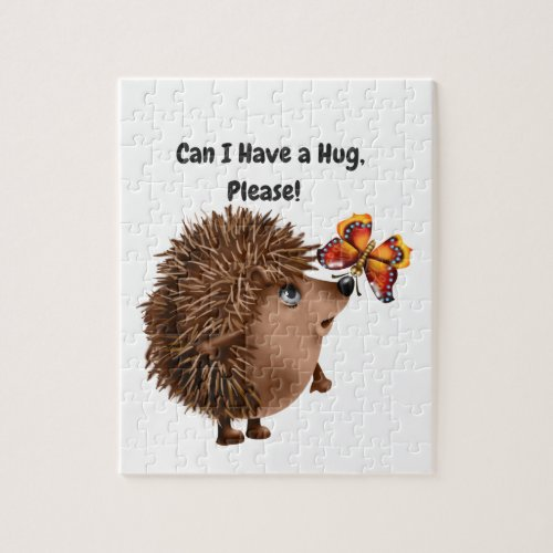 Can I Have a Hug Hedgehog Butterfly Friendship Jigsaw Puzzle