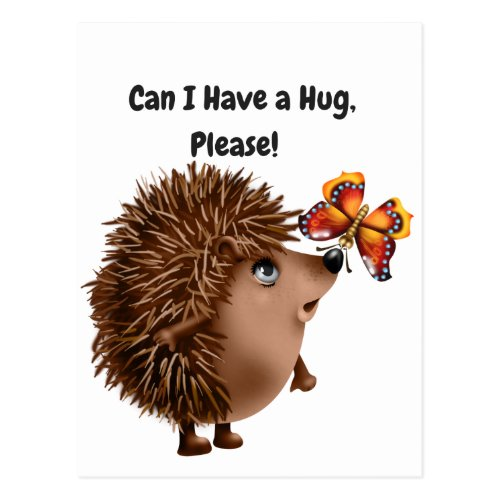 Can I Have a Hug Hedgehog Butterfly Friendship Postcard