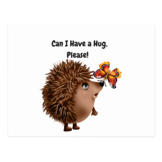 Can I Have a Hug Hedgehog Butterfly Friendship Postcard