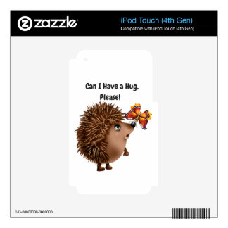 Can I Have a Hug Hedgehog Butterfly Friendship Skins For iPod Touch 4G