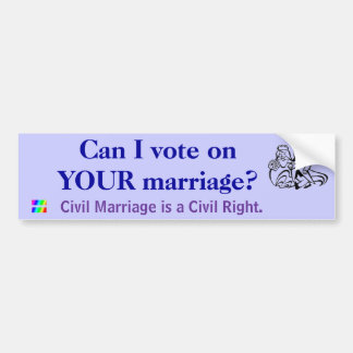 Can I vote on YOUR marriage? Car Bumper Sticker