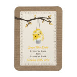 Can Of Flowers Burlap Inspired Fall Save The Date Rectangle Magnets