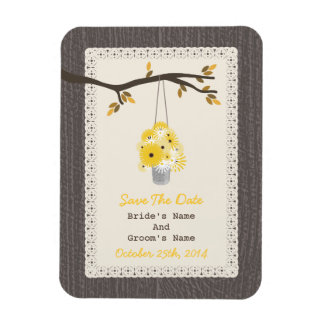 Can Of Flowers Wood Inspired Fall Save The Date Magnet