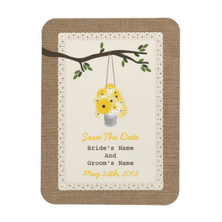 Can Of Wildflowers Burlap Inspired Save The Date Magnet
