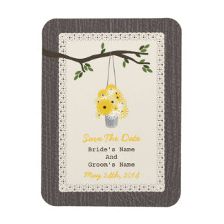 Can Of Wildflowers Wood Inspired Save The Date Magnet