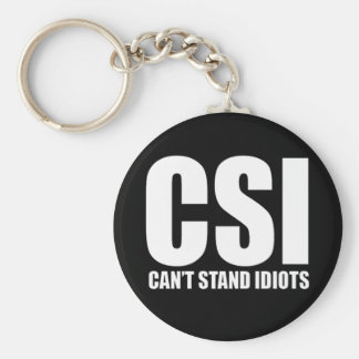 Can't Stand Idiots. Funny design. Basic Round Button Keychain