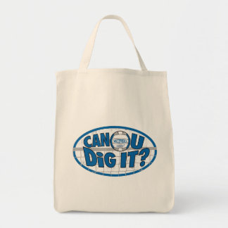 Can U Dig It? Blue and silver Canvas Bag
