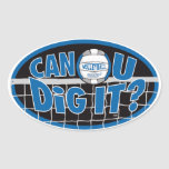 Can U Dig It? Blue and silver Oval Stickers