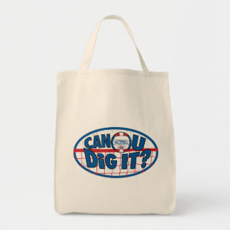 Can U Dig It Red and Blue Tote Bag