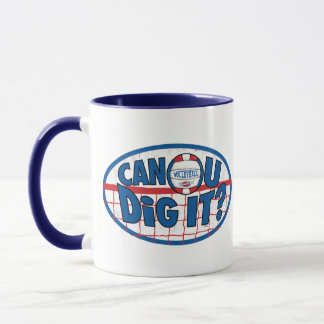 Can U Dig It? Red and Blue Mug