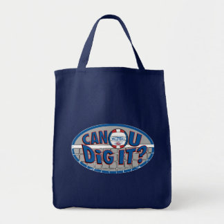 Can U Dig It? Red and Blue Tote Bag
