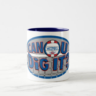 Can U Dig It? Red and Blue Two-Tone Coffee Mug
