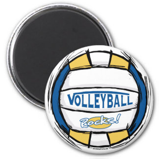 Can U Dig It Volleyball Blue Gold 2 Inch Round Magnet