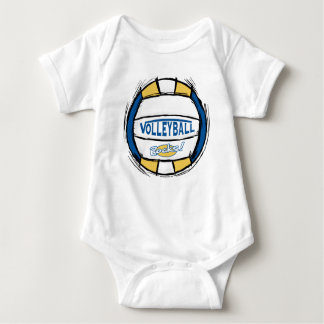 Can U Dig It Volleyball Blue Gold Baby Bodysuit