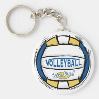 Can U Dig It Volleyball Blue Gold Basic Round Button Keychain